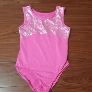 Danskin Now Gymn dance leotard pink and silver